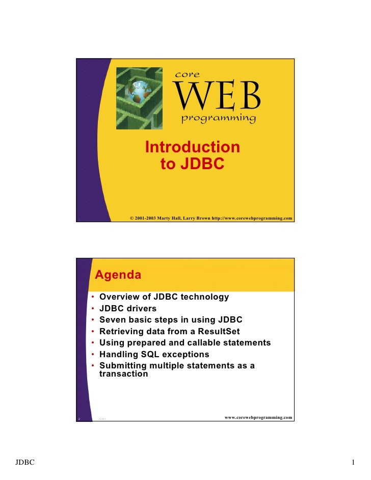 core                                 Webprogramming                     Introduction                       to JDBC1       ...