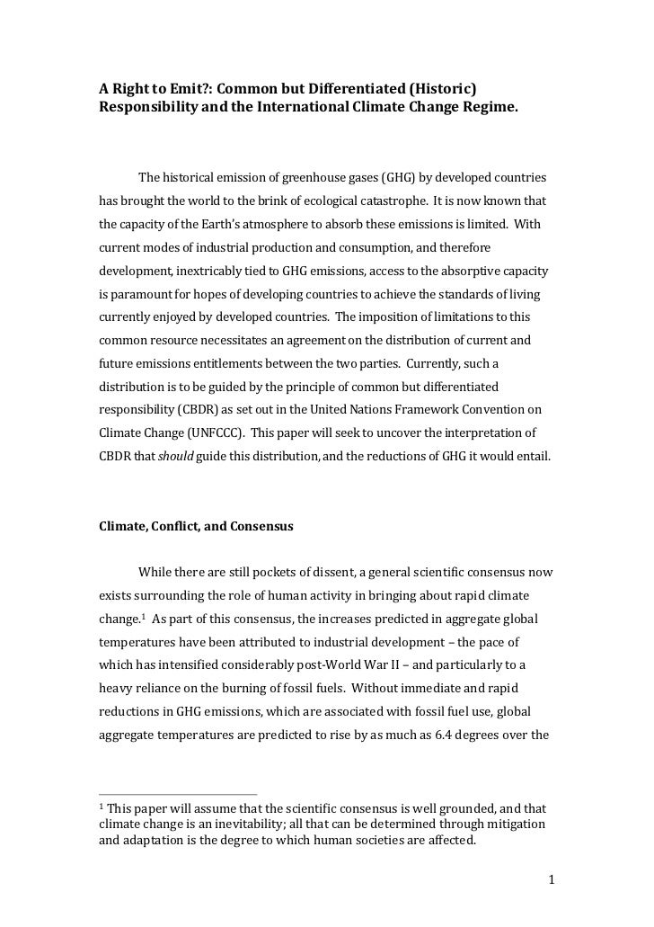 A Right to Emit?: Common but Differentiated (Historic) Responsibility and the International Climate Change Regime