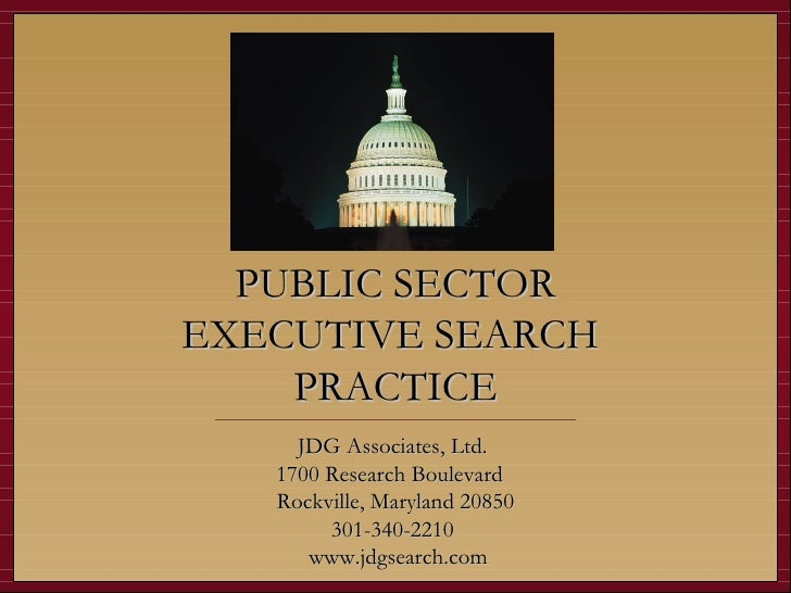 JDG Associates Public Sector Executive Search Practice Overview
