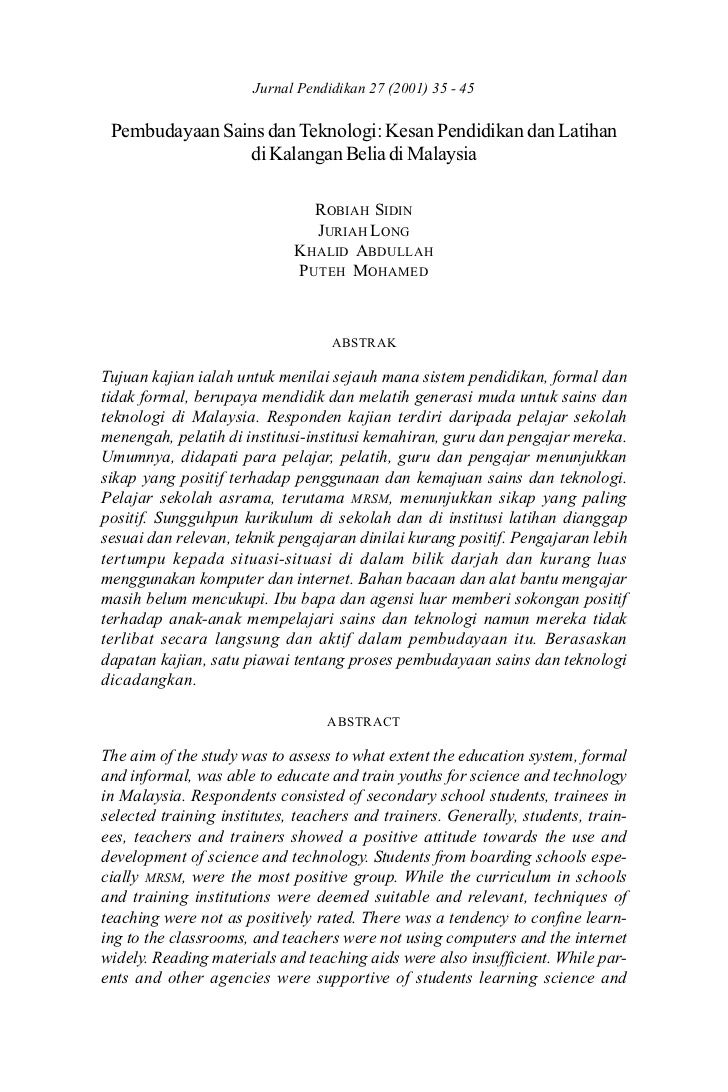 Pembudayaan Sains dan Jurnal PendidikanPendidikan35 - 45                      Teknologi: Kesan 27 (2001) dan Latihan      ...
