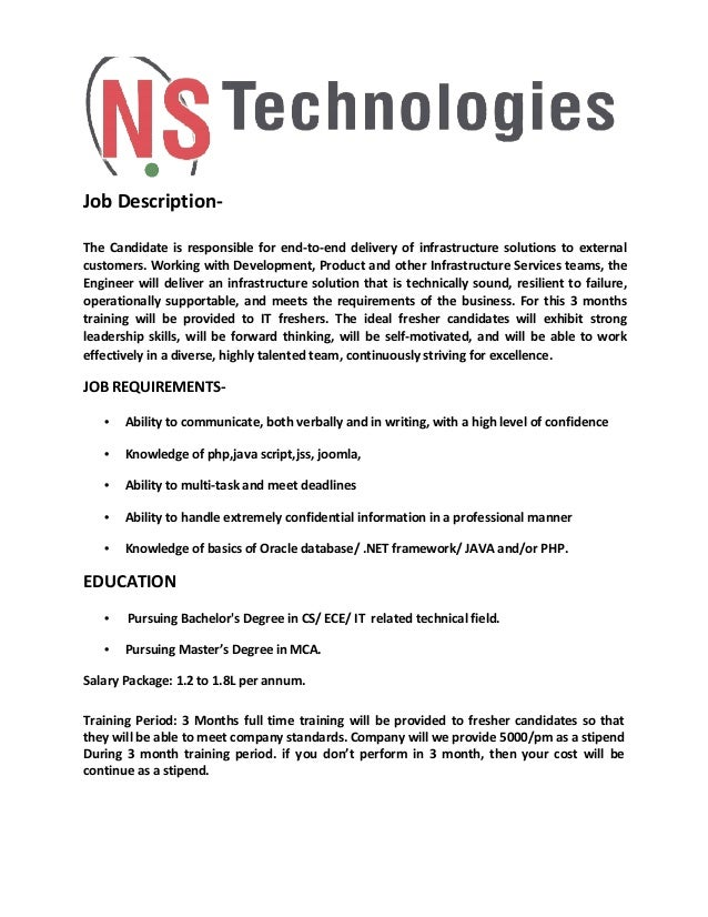 Job Description- The Candidate is responsible for end-to-end delivery of infrastructure solutions to external customers. W...