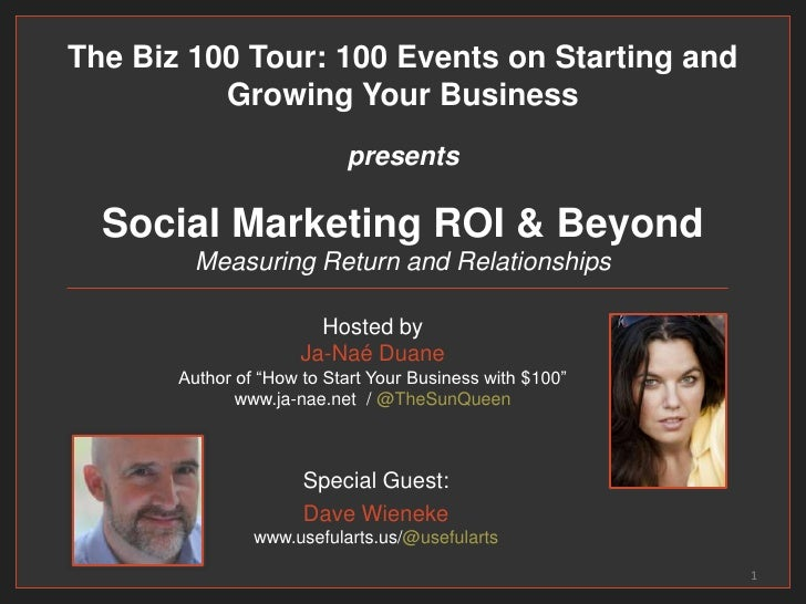 Social Marketing ROI & BeyondMeasuring Return and Relationships<br />Special Guest:<br />Dave Wienekewww.usefularts.us/@us...