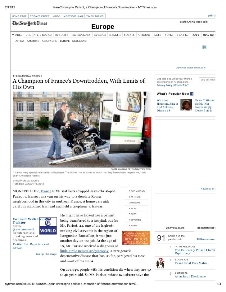 Jean-Christophe Parisot, a champion of France's downtrodden - New York Times - 2012.01.13