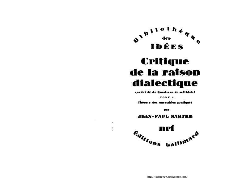 Jean  Paul  Sartre    Critique De La  Raison  Dialectique  I