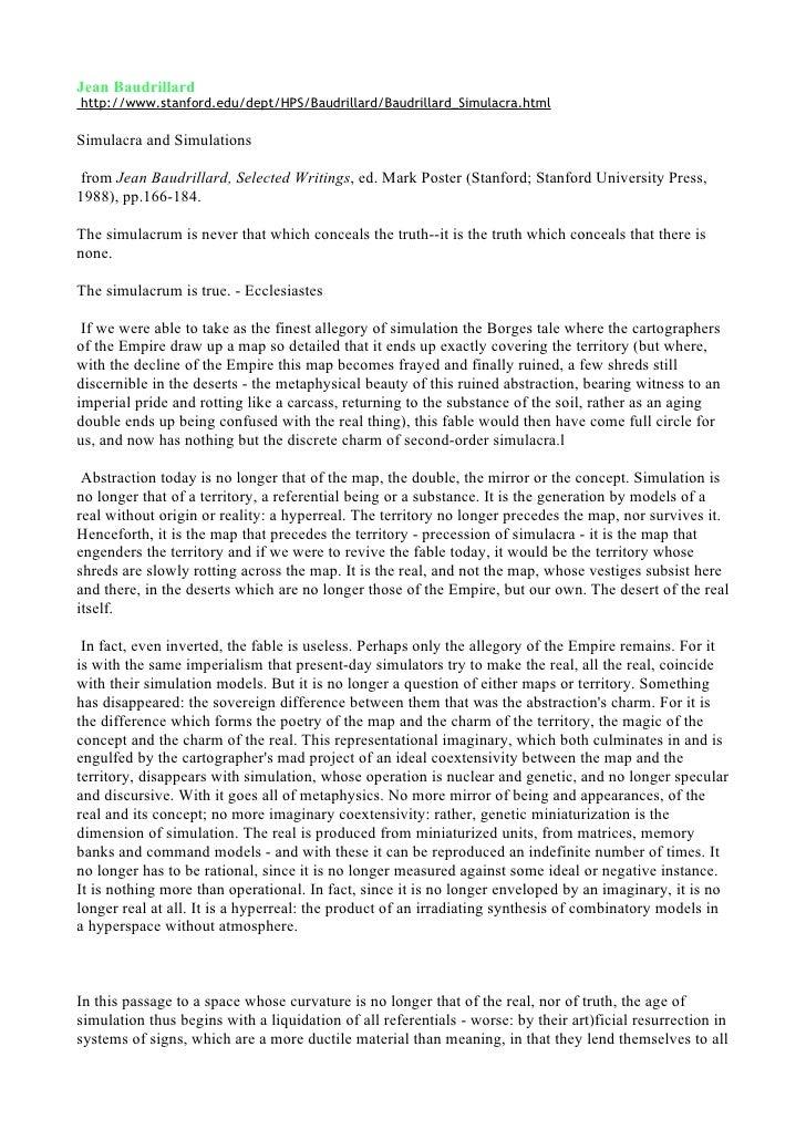 Jean Baudrillard  Simulacra And Simulations