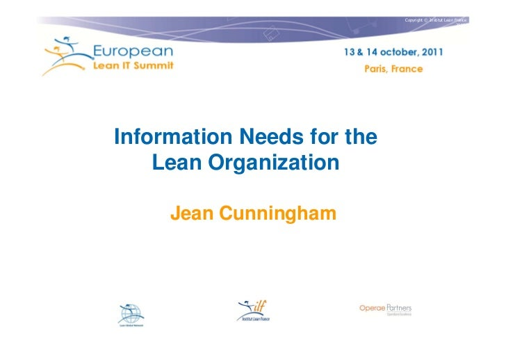 Copyright © Institut Lean France                                                       2011Information Needs for the    Le...