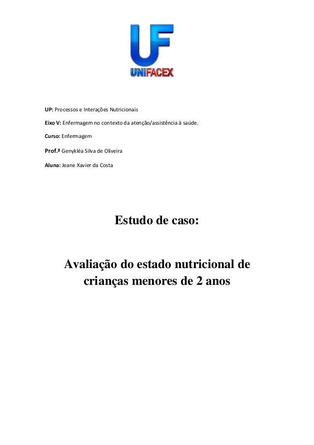 UP: Processos e Interações Nutricionais Eixo V: Enfermagem no contexto da atenção/assistência à saúde. Curso: Enfermagem P...