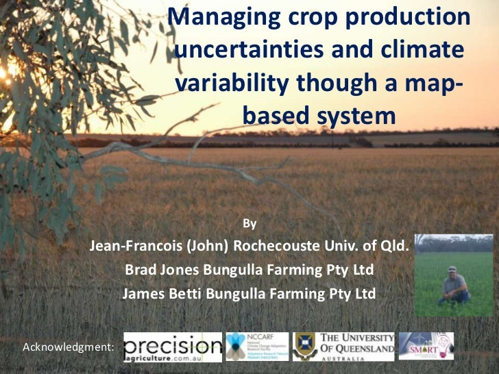 Managing crop production                     uncertainties and climate                     variability though a map-      ...