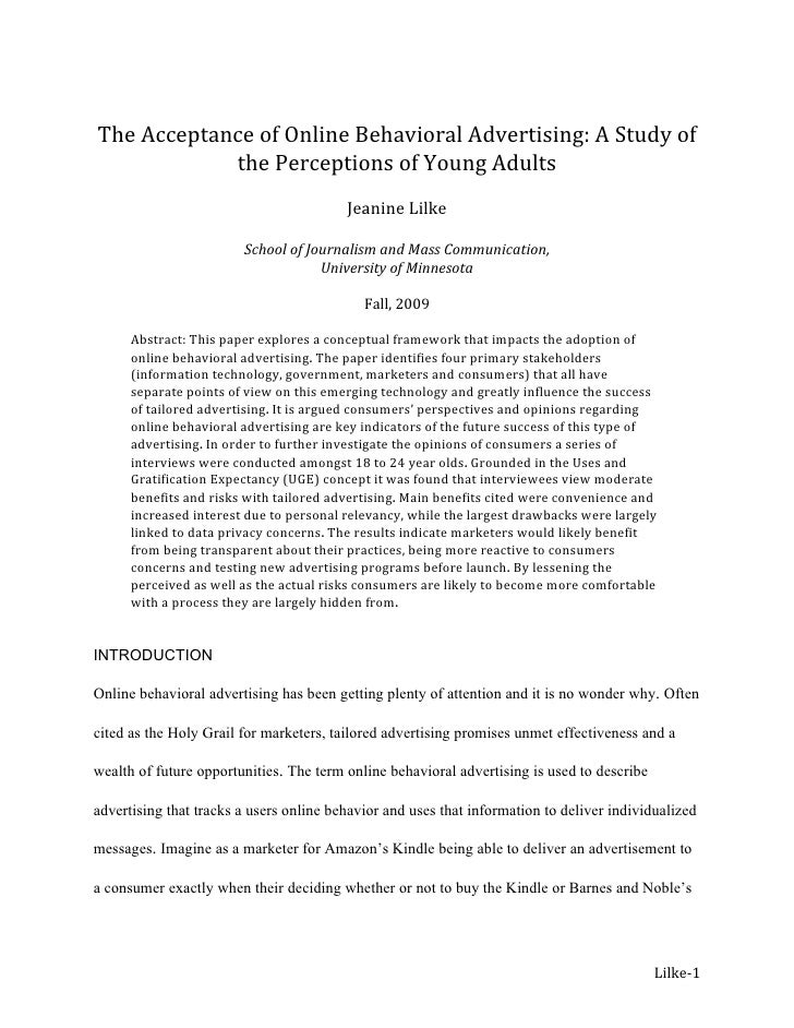 The Acceptance of Online Behavioral Advertising: A Study of the Perceptions of Young Adults