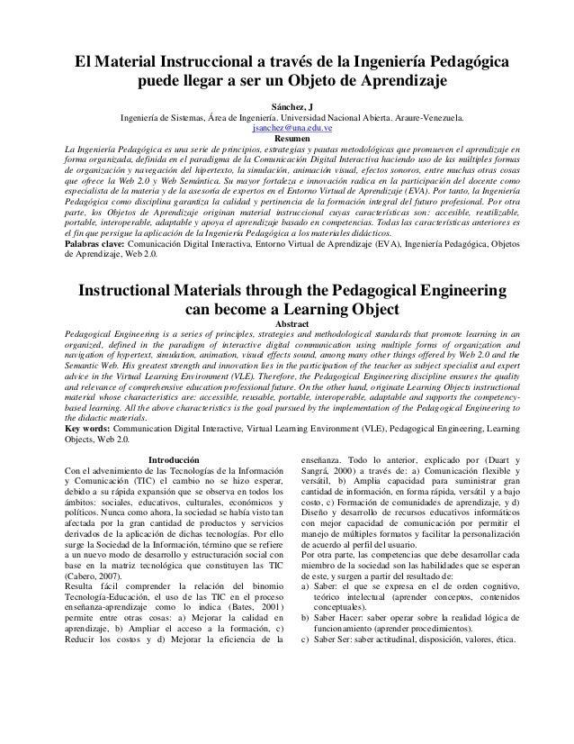 El Material Instruccional a través de la Ingeniería Pedagógica puede llegar a ser un Objeto de Aprendizaje Sánchez, J Inge...