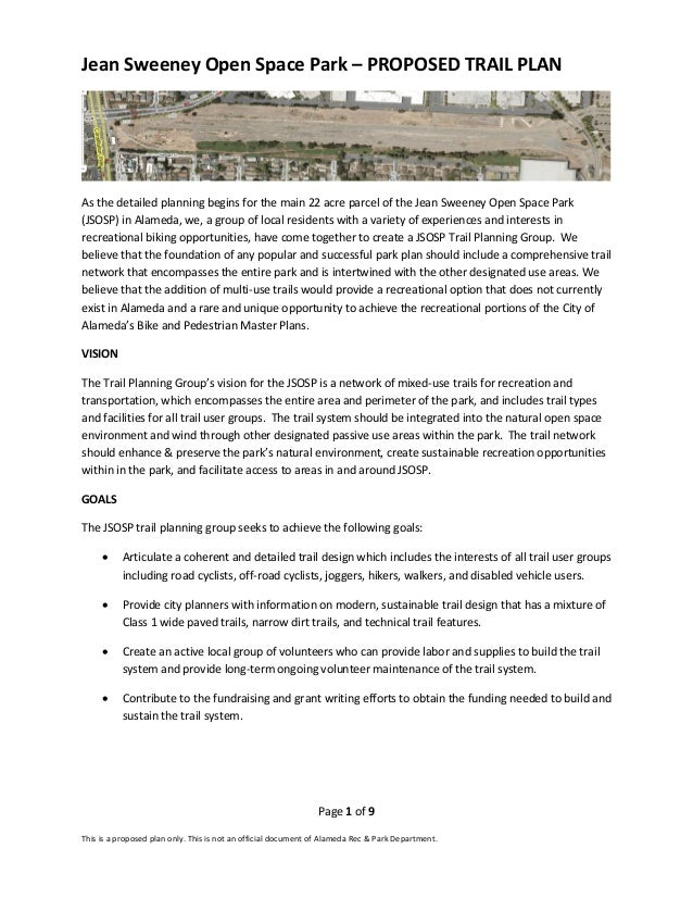 Page 1 of 9 This is a proposed plan only. This is not an official document of Alameda Rec & Park Department. Jean Sweeney ...