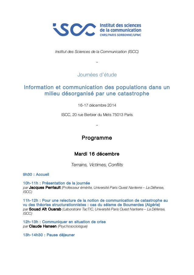 Institut des Sciences de la Communication (ISCC)  -  Journées d'étude  Information et communication des populations dans u...