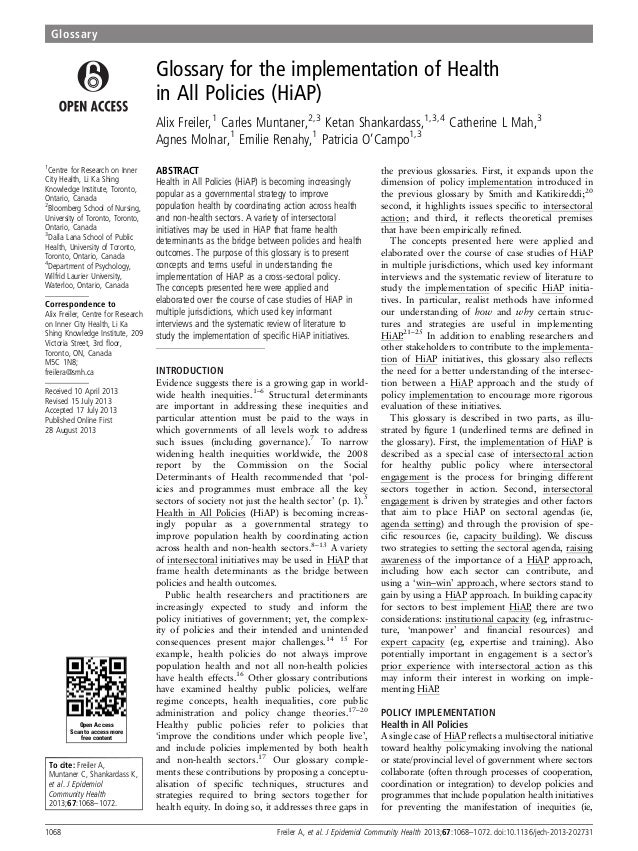 JECH Glosario Salud en todas las políticas 2013