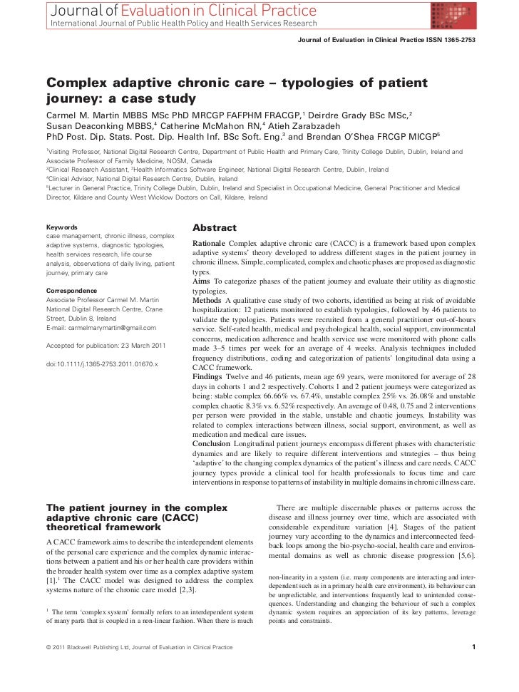 Journal of Evaluation in Clinical Practice ISSN 1365-2753Complex adaptive chronic care – typologies of patientjourney: a c...