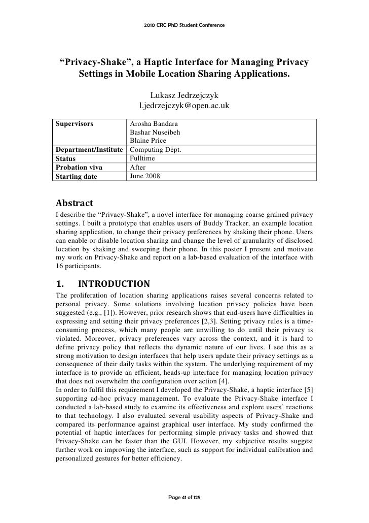 """2010 CRC PhD Student Conference      """"Privacy-Shake"""", a Haptic Interface for Managing Privacy      Settings in Mobile Loca..."""
