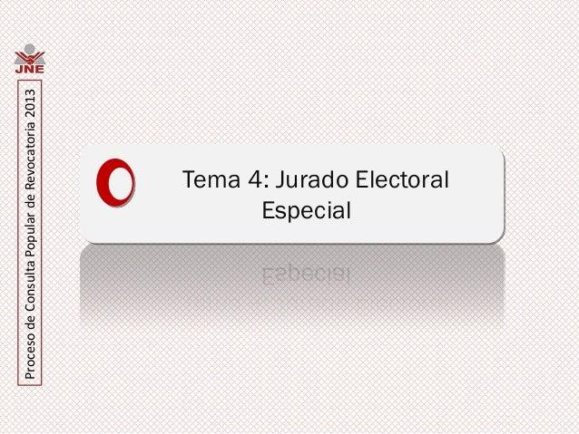 Proceso de Consulta Popular de Revocatoria 2013                               Especial                         Tema 4: Jur...