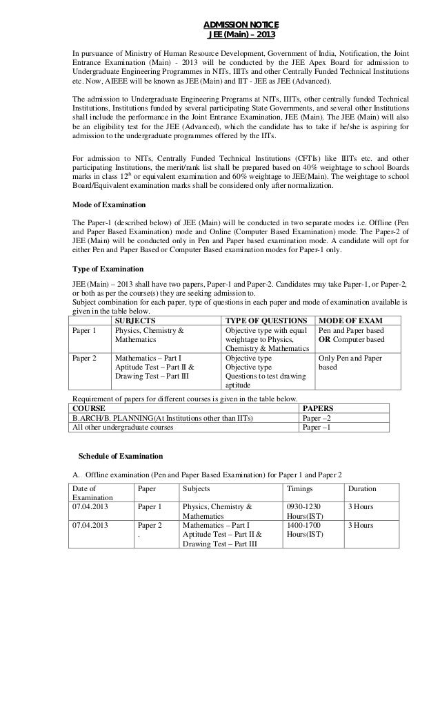 ADMISSION NOTICE                                           JEE (Main) – 2013In pursuance of Ministry of Human Resource Dev...