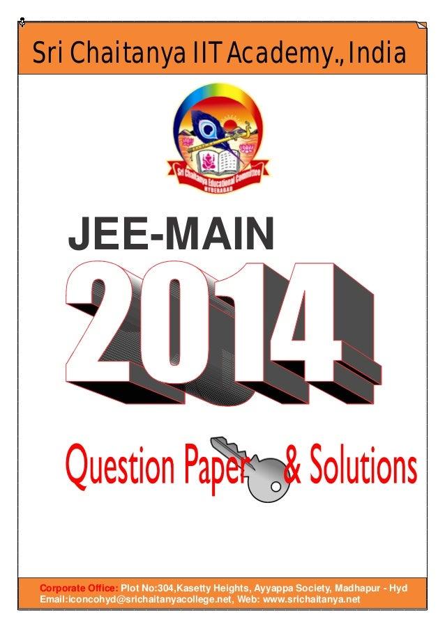 Jee main 2014 qpaper key solutions
