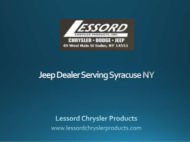 Discover new Chrysler, Dodge, Jeep and Ram vehicles at Lessord Chrysler Products. We are located in Sodus, NY. 49West Main...
