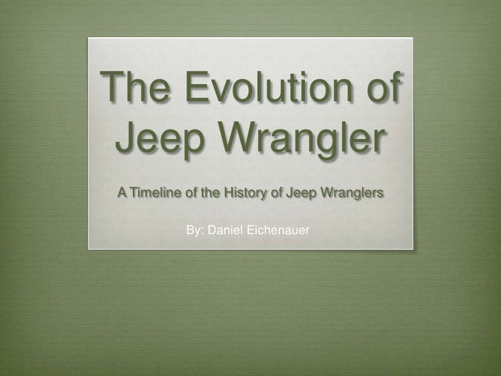 The Evolution of Jeep WranglerA Timeline of the History of Jeep Wranglers           By: Daniel Eichenauer