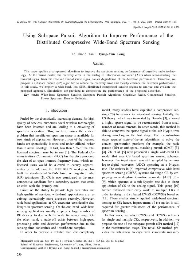 Using Subspace Pursuit Algorithm to Improve Performance of the Distributed Compressive Wide-Band Spectrum Sensing