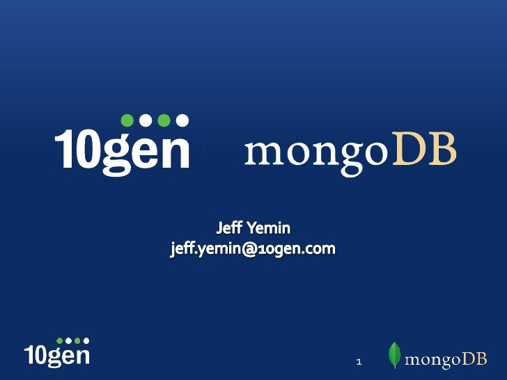 Technical Introduction to MongoDB