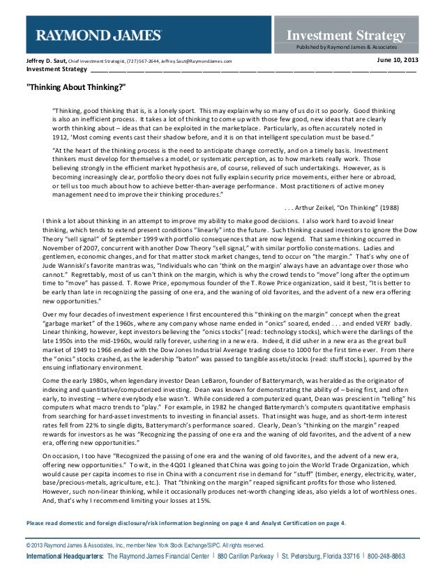 Investment StrategyPublished by Raymond James & AssociatesPlease read domestic and foreign disclosure/risk information beg...