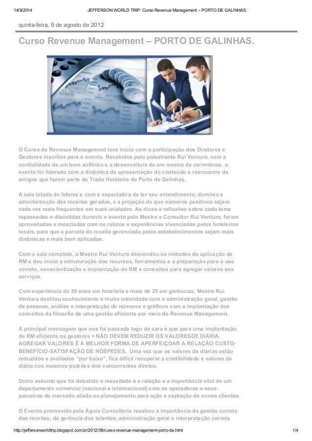 14/9/2014 JEFFERSON WORLD TRIP: Curso Revenue Management – PORTO DE GALINHAS.  quinta-feira, 9 de agosto de 2012  Curso Re...