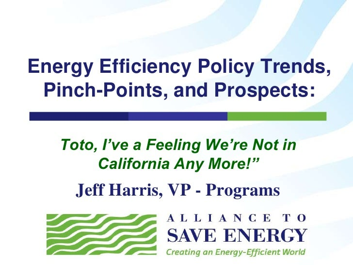 Energy Efficiency Policy Trends, Pinch-Points, and Prospects: Toto, I've a Feeling We're Not in California Any More!""
