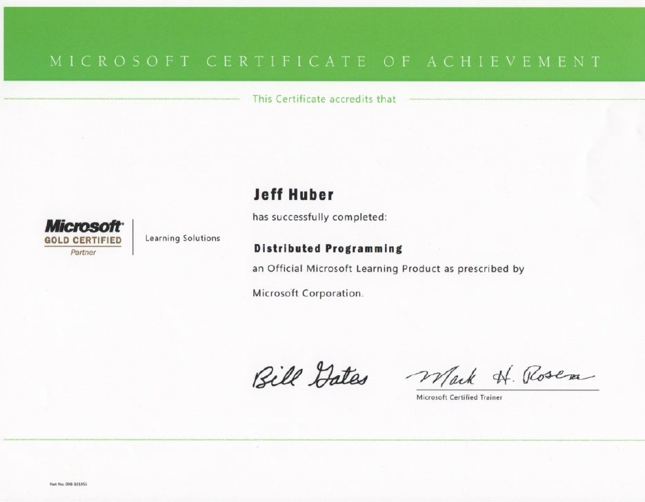 Jeff Huber Distributed Certificate