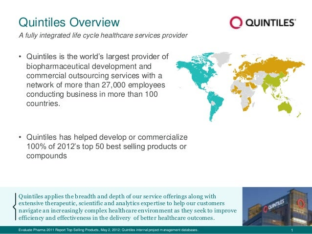 1 Quintiles Overview Quintiles applies the breadth and depth of our service offerings along with extensive therapeutic, sc...
