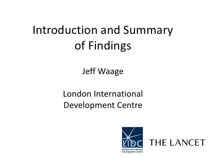 Lancet-LIDC Commission on the Millennium Development Goals: Introduction and Summary of Findings - Professor Jeff Waage, LIDC