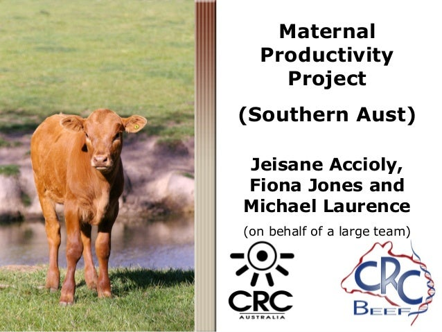 Maternal Productivity Project (Southern Aust) Jeisane Accioly, Fiona Jones and Michael Laurence (on behalf of a large team)