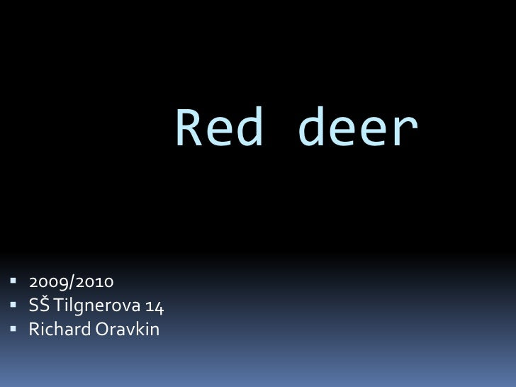 Red deer<br />2009/2010<br />SŠ Tilgnerova 14 <br />Richard Oravkin <br />