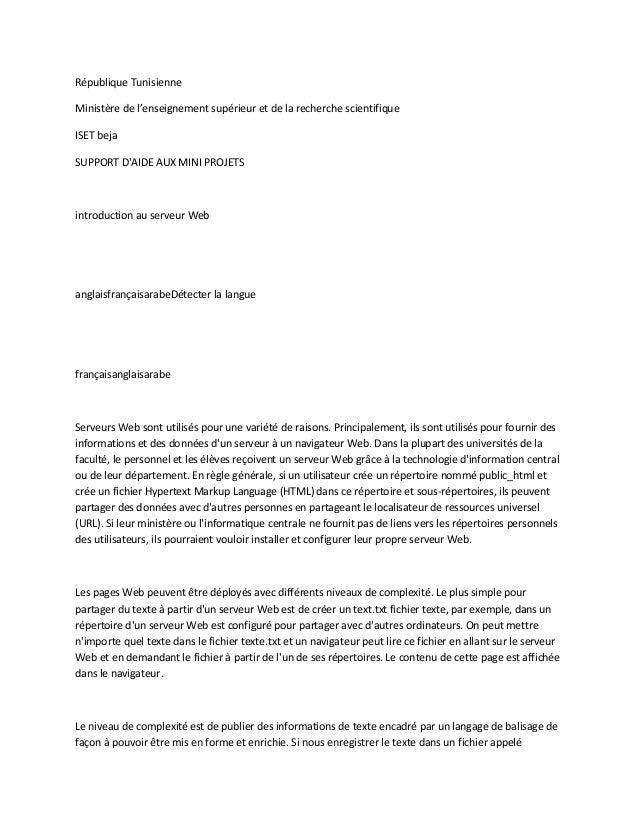 République TunisienneMinistère de l'enseignement supérieur et de la recherche scientifiqueISET bejaSUPPORT DAIDE AUX MINI ...
