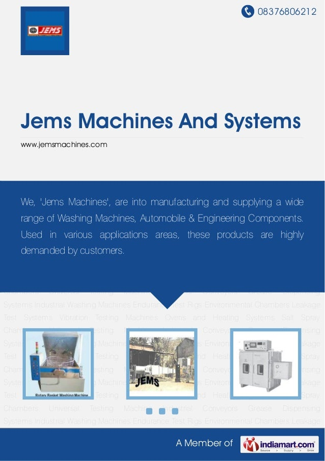 08376806212A Member ofJems Machines And Systemswww.jemsmachines.comIndustrial Washing Machines Endurance Test Rigs Environ...