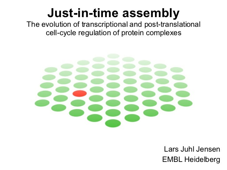 Just-in-time assembly The evolution of transcriptional and post-translational cell-cycle regulation of protein complexes L...