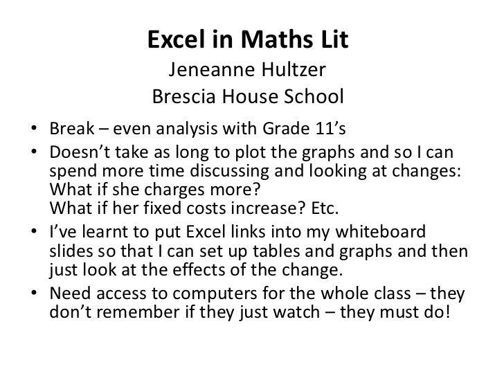 JeneanneHultzer_TeachMeet_Excel-in-Maths-Lit