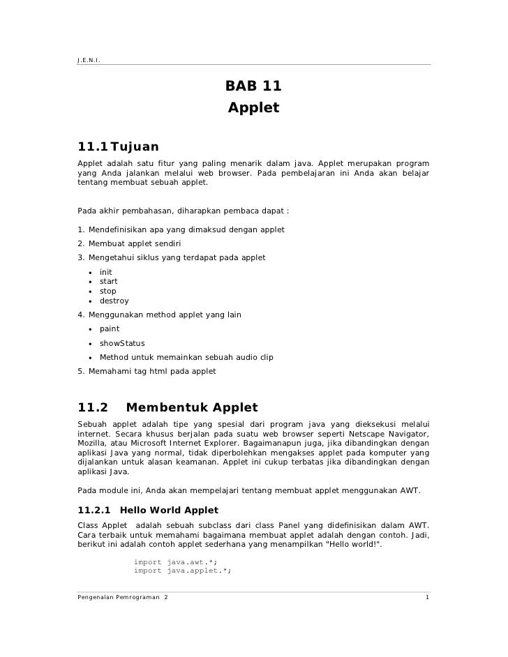 Jeni Intro2 Bab11 Applet
