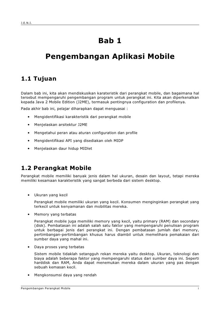 Jeni J2 Me Bab01 Pengembangan Aplikasi Mobile