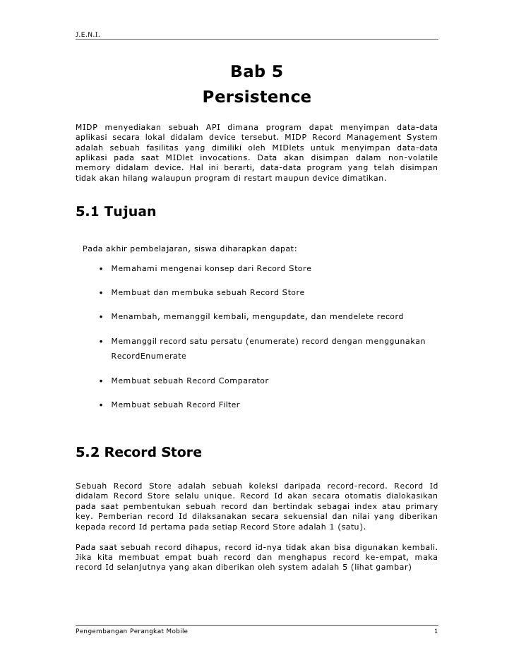 J.E.N.I.                                    Bab 5                                PersistenceMIDP menyediakan sebuah API di...