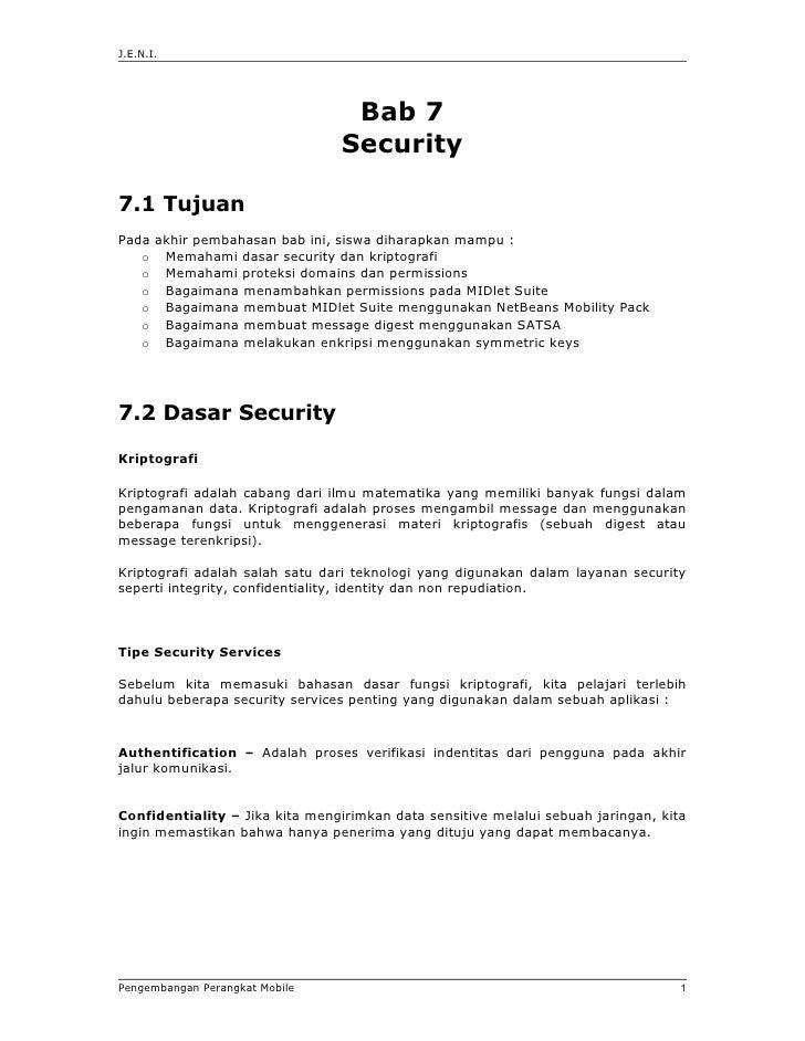 J.E.N.I.                                  Bab 7                                 Security7.1 TujuanPada akhir pembahasan ba...