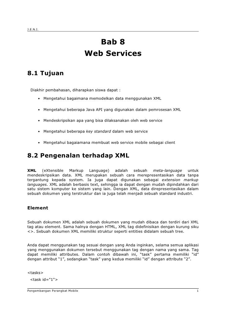 J.E.N.I.                                       Bab 8                                Web Services8.1 Tujuan  Diakhir pembah...