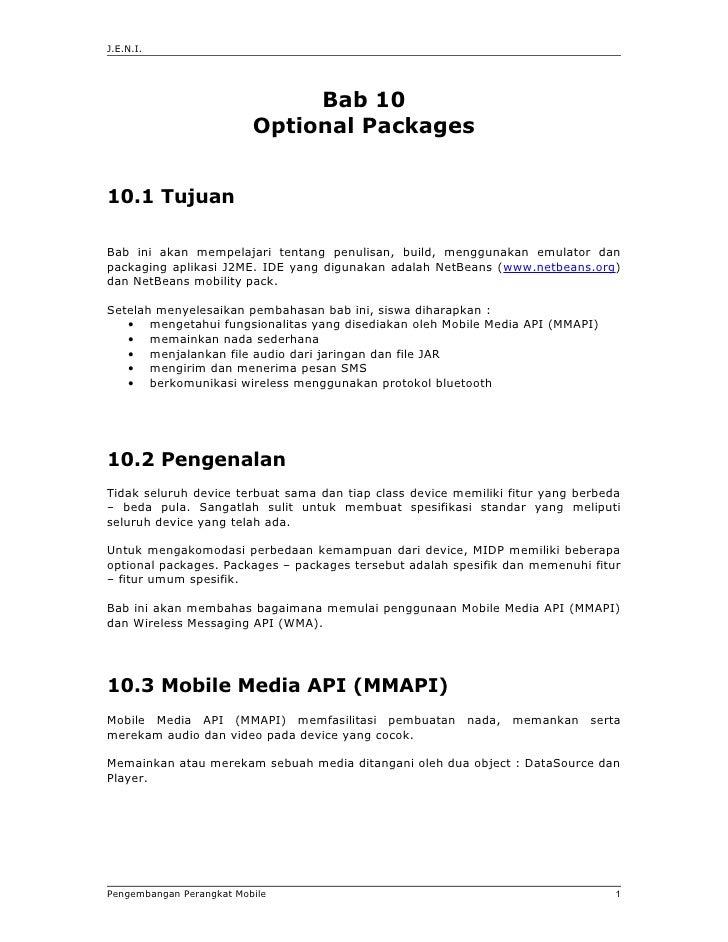 J.E.N.I.                                    Bab 10                           Optional Packages   10.1 Tujuan  Bab ini akan...