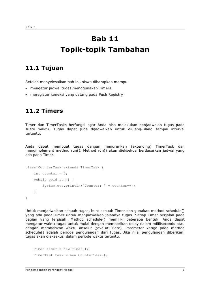 J.E.N.I.                                    Bab 11                     Topik-topik Tambahan11.1 TujuanSetelah menyelesaika...