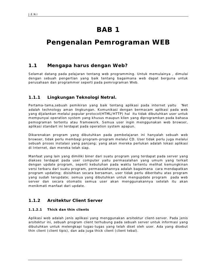 J.E.N.I                                          BAB 1           Pengenalan Pemrograman WEB   1.1        Mengapa harus den...