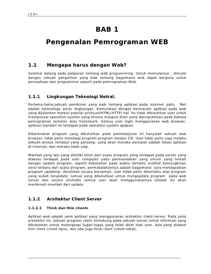 Jeni Web Programming Bab 1 Pengenalan Pemrograman Web