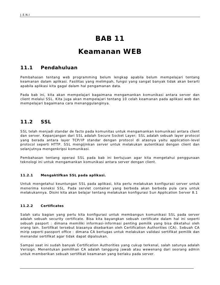 J.E.N.I                                              BAB 11                                Keamanan WEB  11.1       Pendah...