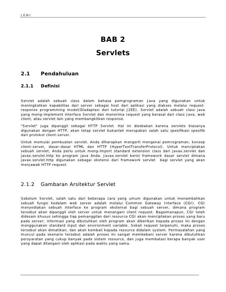 J.E.N.I                                             BAB 2                                      Servlets  2.1          Pend...