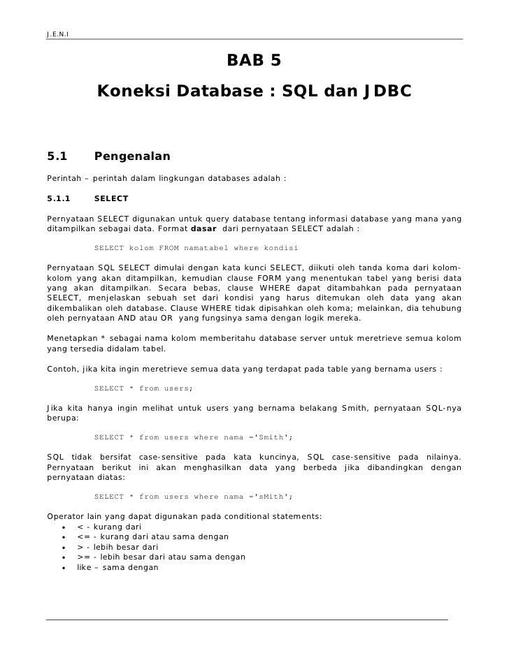 Jeni Web Programming Bab 5 Sql Dan Jdbc